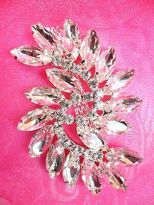 "ACT/XR196 Marquise Swirl Crystal Rhinestone Glass Applique Embellishment 2.75"""
