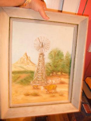 vintage original oil painting,farm/homestead/windmill/prairie/cattle/stocktank