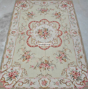 4-039-x6-039-Handmade-Floral-Roses-French-Aubusson-Design-Wool-Needlepoint-Area-Rug