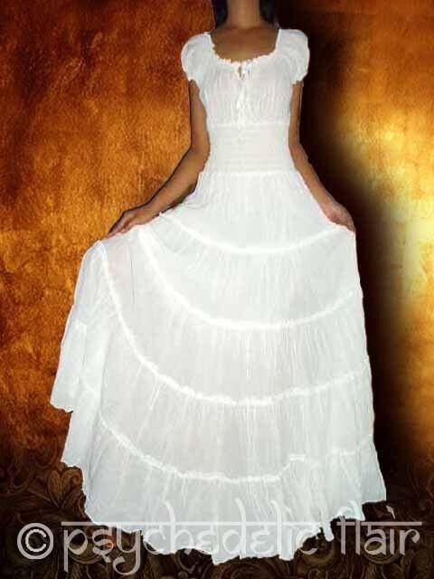 LONG SUN DRESS PEASANT BOHO NEW MAXI WHITE COTTON FULL HIPPIE GYPSY size S M L