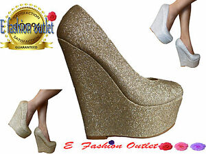 NEW-WOMENS-LADIES-COURT-PLATFORM-HIGH-WEDGE-HEEL-SILVER-AND-GOLD-GLITTER-SHOES
