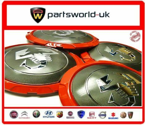 Set Of FOUR Genuine Fiat Abarth Centre Cap For The 500 Abarth Red Grey & Silver
