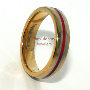Thin Red Line 6mm Tungsten Ring Wedding Band 18K Gold IP w Red