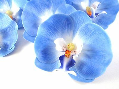 "10 Blue Silk Phaleanopsis Phal Flower head Artificial Orchid lot Wedding 3.75"""