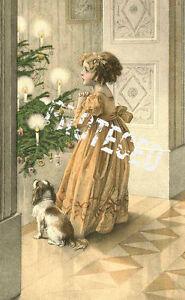 Vintage-Christmas-Fabric-Block-Vintage-Postcard-Victorian-Parlor