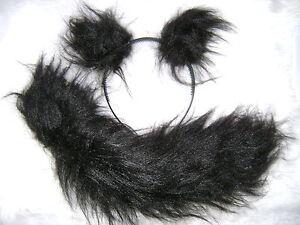 Persian-Cat-Ears-And-Tail-Set-Black-Luxury-Faux-Fur-Unique-Fancy-Dress-Gorgeous