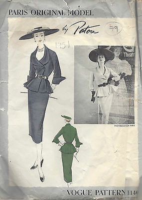 """1951 Vintage VOGUE Sewing Pattern B30"""" SUIT-SKIRT & JACKET (79) By 'Patou"""