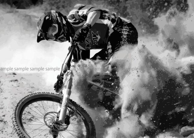 MOUNTAIN BIKE DOWNHILL MTB   POSTER PICTURE WALL ART PRINT A3 AMK2481