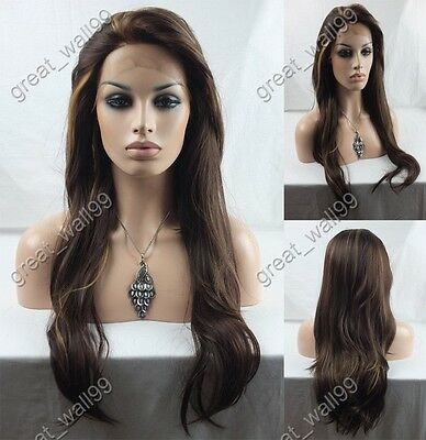 """18""""-28"""" HAND TIED Synthetic Hair lace front wig #4/27"""