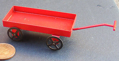 1:12th Scale Red Metal Cart Dolls House Miniature Nursery Toy Accessory