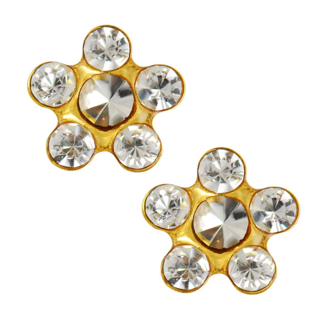 14kt Yellow Gold 5mm Clear April Daisy Ear Piercing Earrings Studex System 75