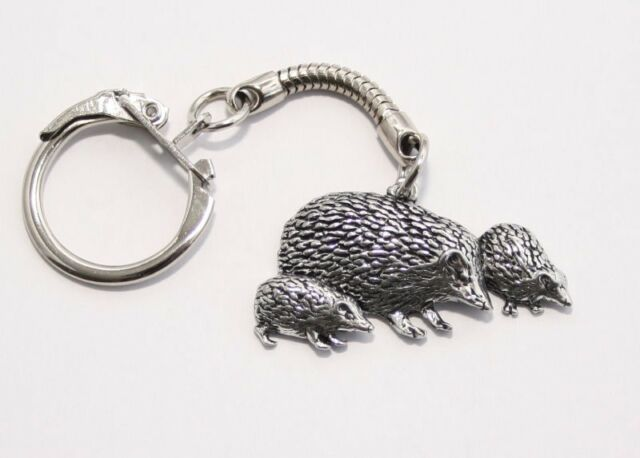 Hedgehog Family Key-ring (keychain), Fine English Pewter, (tshw), keyring