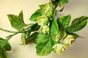 Artificial silk garland of green hops 2 m long for Artificial hops decoration