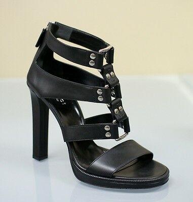 New GUCCI MIRA Gladiator Leather Platform Sandal 38.5/8.5 Black 257872 1000