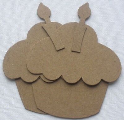 """{3}  LARGE CUPCAKE w/ CANDLE - Birthday Bare Chipboard Die Cuts - 5"""" assembled"""