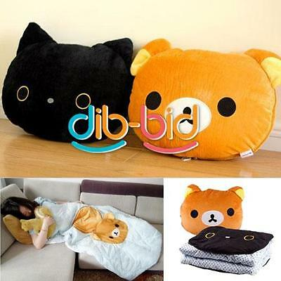 2 In1 Relax Bear Back Cushion Pillow Air Condition Protector Blanket Quilt DBUS
