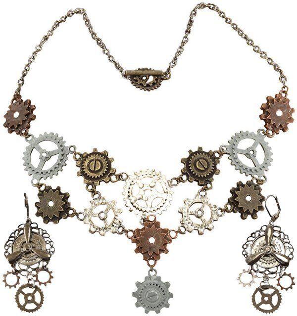 MULTI GEARS NECKLACE & PIERCED EARRINGS SET Steampunk Costume Jewelry Propeller