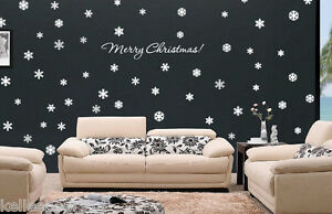 72-Snowflakes-amp-Merry-Christmas-wall-window-art-vinyl-decal-sticker-Holiday