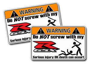 Pair Of Funny GSXR Suzuki Motorcycle Warning Vinyl Decal Stickers - Stickers for motorcycles suzuki