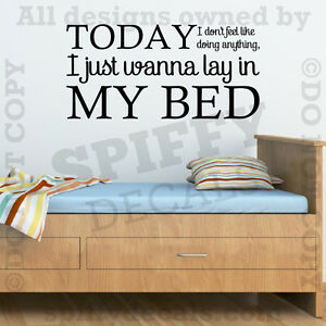 bruno mars the lazy song lay in my bed quote vinyl wall. Black Bedroom Furniture Sets. Home Design Ideas