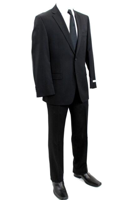 Calvin Klein Mens Wool Suit Solid Black 2 Button Flat Front Pants Slim & Regular