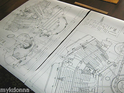 Harley Panhead Technical Drawing Set Engine BLUEPRINT FLH Davidson print vtg