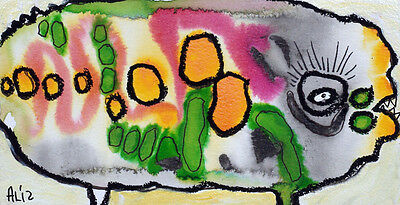 Original LABEDZKI abstract outsider art LITTLE PIG STANDS ALONE 4.5x9inches