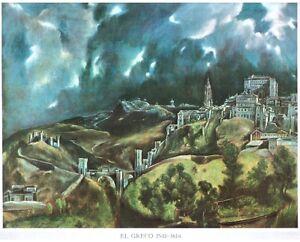 STAMPA-EL-GRECO-Veduta-di-Toledo-30x25cm-1960-ca
