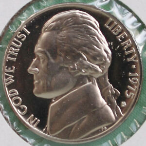 1975 Proof Jefferson Nickel From Us Mint Proof Set 5c Five Cent Coin Made In Usa Ebay