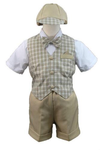 Stone Khaki Boy Infant & Toddler Formal Wedding Party Vest Suit New born to 4T