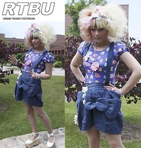 Hello-Kitty-Meow-Soft-Denim-Baggy-Diaper-Jumpsuite-Suspender-Overall-Mini-Skirt
