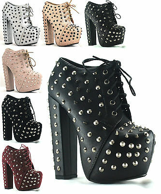 WOMENS LADIES BLACK SPIKE STUD LACE HIGH BLOCK HEEL PLATFORM SHOES BOOTS UK 3-8