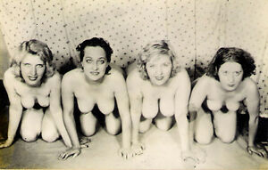 FOUR-NUDE-ROARING-20s-FLAPPER-DANCERS-Old-EROTIC-PHOTO-Sexy-Naked-Breasts