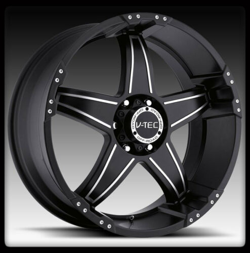 17X8.5 V-TEC 395 WIZARD 17 INCH BLACK 8X6.5 8X165.1 SIERRA GMC WHEELS RIMS -12