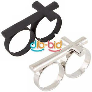 Adjustable-Metal-Cross-Two-Double-2-Finger-Ring-Jewelry-EB