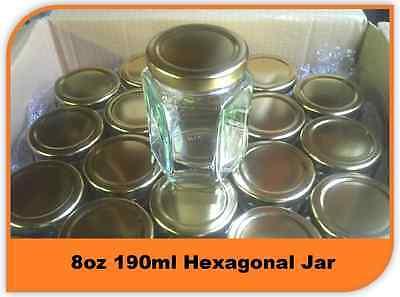 60 X 8oz 190ml HEXAGONAL GLASS JAR JARS HEX PRESERVE JAM HONEY CHUTNEY WITH LIDS