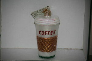 Coffee Cup Old World Christmas glass ornament