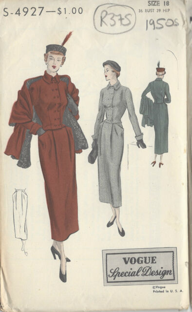 "1940s Vintage VOGUE Sewing Pattern B36"" SUIT-JACKET & SKIRT & STOLE (R375)"