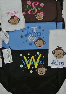Personalized-Baby-Diaper-bag-amp-Burp-Cloth-Owl-Farm-Sports-Cars-Mod-Monkey