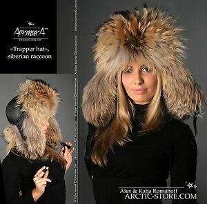 Trapper-russian-USHANKA-fur-hat-RANCHED-Gold-Black-raccoon-winter-cap-Fellmutze