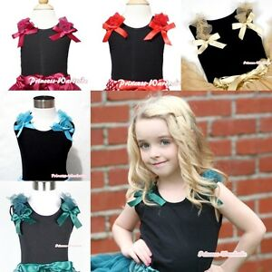 Girl-BLACK-Pettitop-Tank-Top-Shirt-Vest-wif-Ruffle-Bow-for-Pettiskirt-NB-10Y