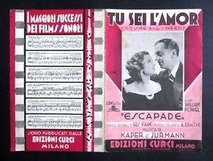 Spartito-TU-SEI-L-039-AMOR-slow-del-film-Escapade-1935-POWEL-KAPER-JURMANN-Curci
