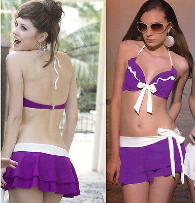 New Purple 3PCS Swimsuit Swimwear Bikini Top Pin Up Halter Bottom Swim Skirt Set