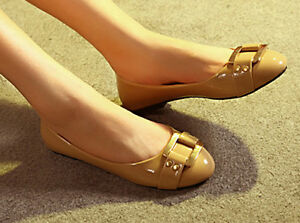 Women-Faux-Patent-Leather-Comfy-Round-Toe-Buckle-Ballet-Flats-Shoes-Loafers-1k3