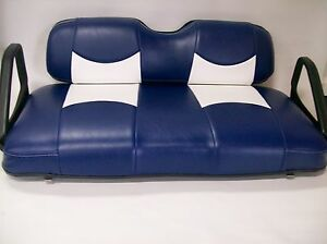 club car ds 39 00 up golf cart front seat replacement covers set blue wht btm ebay. Black Bedroom Furniture Sets. Home Design Ideas