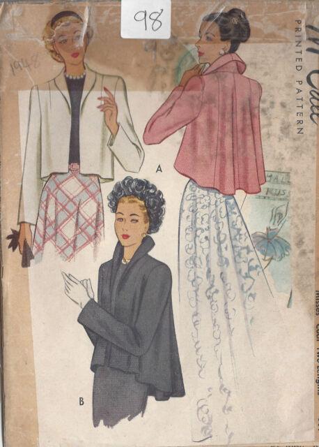 """1948 Vintage Sewing Pattern COAT B34"""" (98)"""