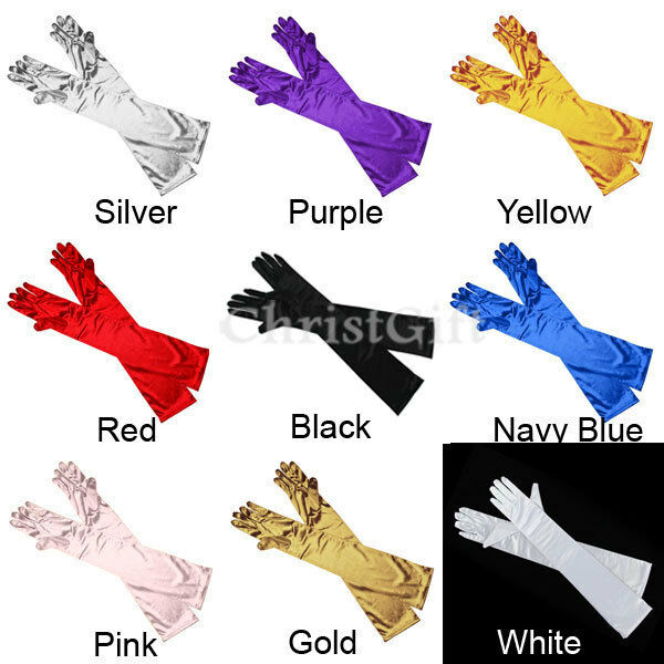 LADIES SATIN PARTY DRESS PROM EVENING WEDDING BRISAL LONG FINGER GLOVES
