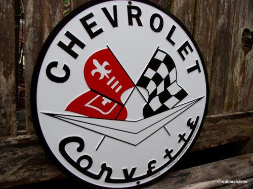 "CHEVY CORVETTE ADVERTISING VINTAGE LOOK SIGN LOGO Metal ""MAN CAVE"" Decor"