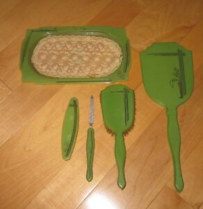 Antique-Vintage-Green-Bakelite-Hand-Mirror-Brush-Comb-Nail-File-Tray-Vanity-Set