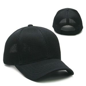 Black Plain Solid Blank Air Mesh Golf Vent Tennis Baseball
